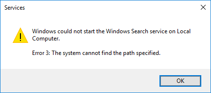 the system could not find the path specified