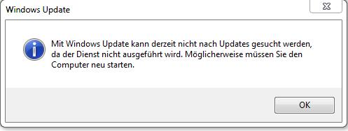 windows 7 update dienst nicht ausgeführt