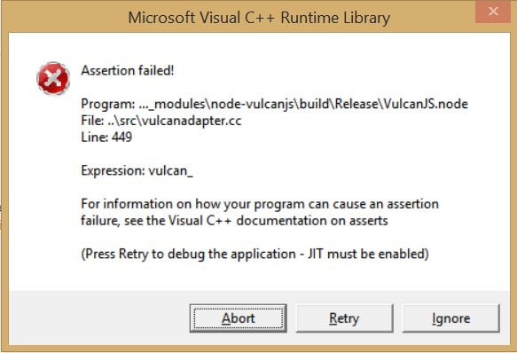 Microsoft visual C++ runtime Library Assertion failed