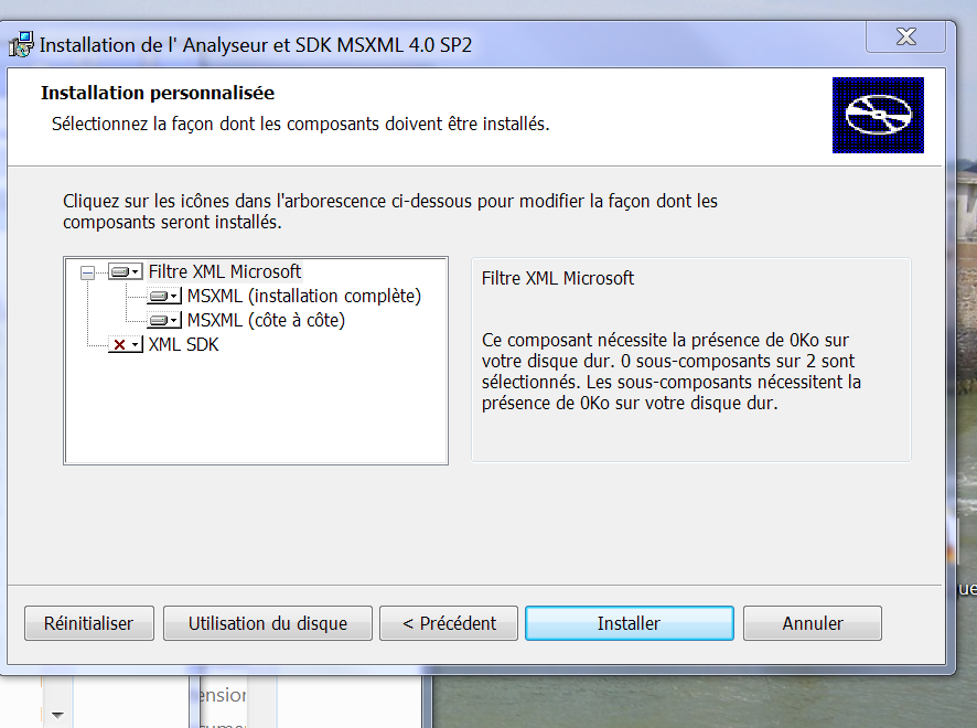 analyseur et sdk msxml 4.0 sp2
