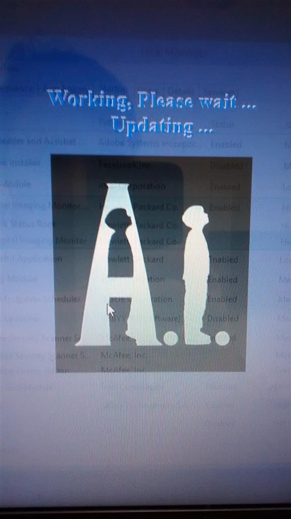 Working please wait updating