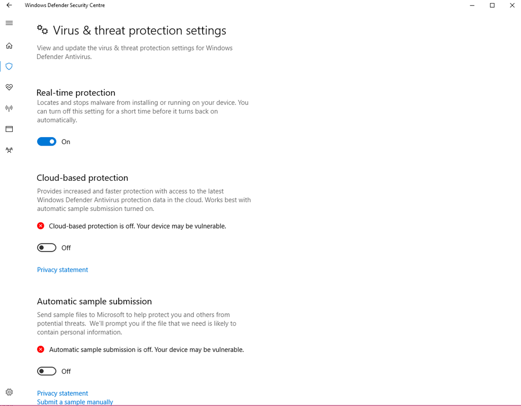 Windows Defender The threat service has stopped. Restart it now