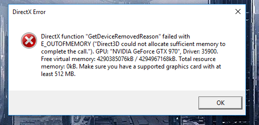 DXGI Error Device Hung/Removed - Microsoft Community