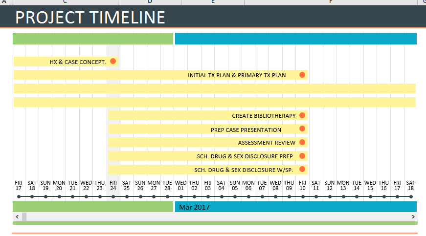 printing a timeline form a microsoft template in excel called
