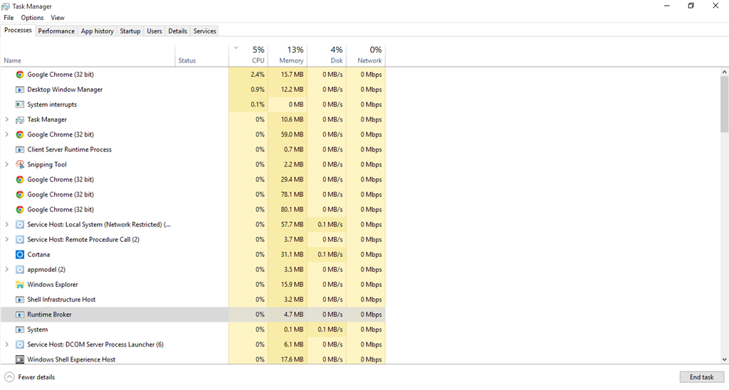 Runtime Broker is using too much cpu on a quadcore i5 3570k