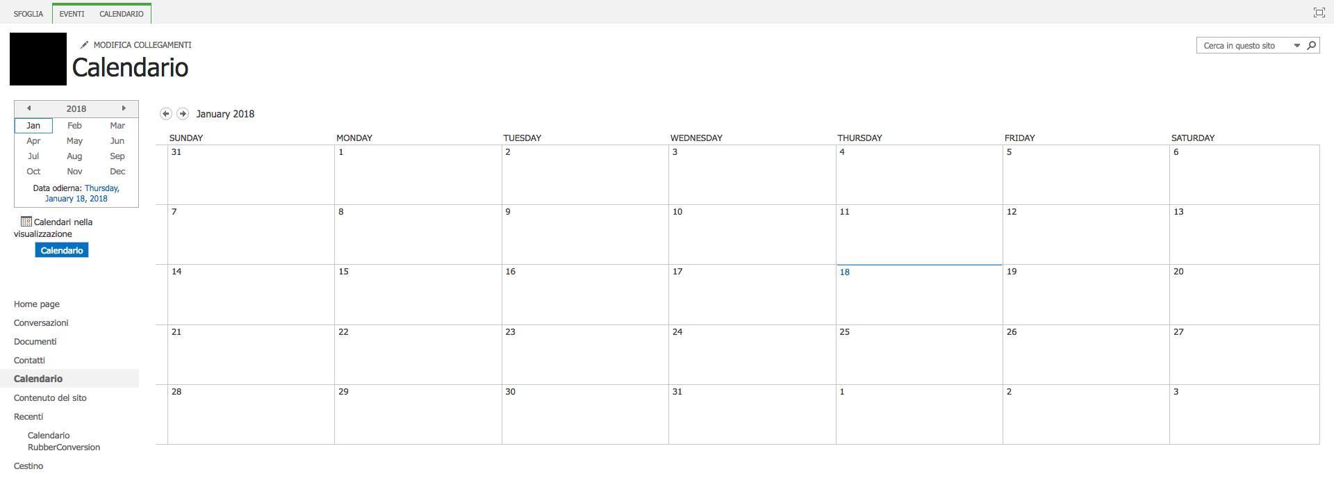 Cerca Calendario.Calendario Aziendale Sharepoint Microsoft Community