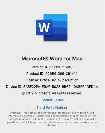 Outlook for Mac 365 fails to launch after Mojave install