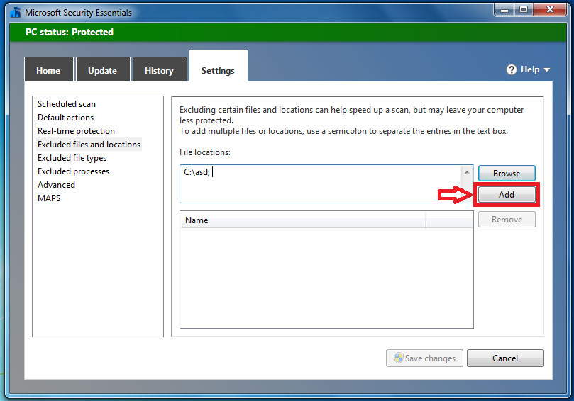 How to exclude a file/folder from Microsoft Security Essentials