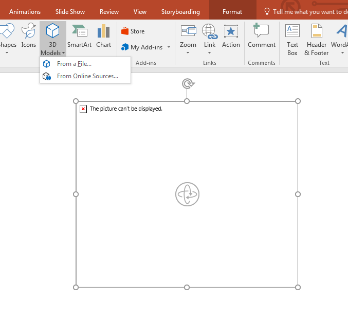 3D models can't be displayed in Powerpoint 365 - Microsoft