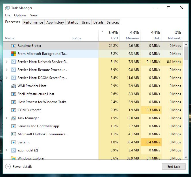 Background Task Host Excessive CPU Usage - Microsoft Community