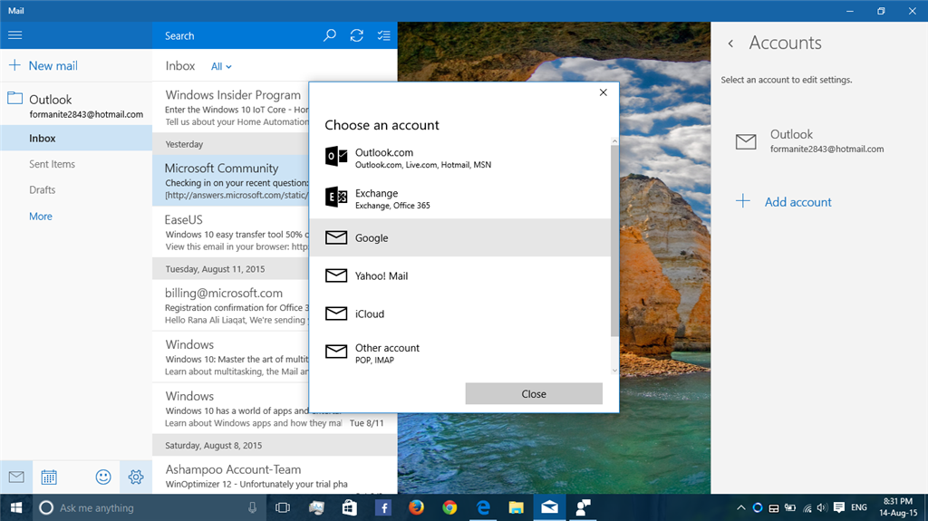 Unable to add google account on Windows 10 mail app
