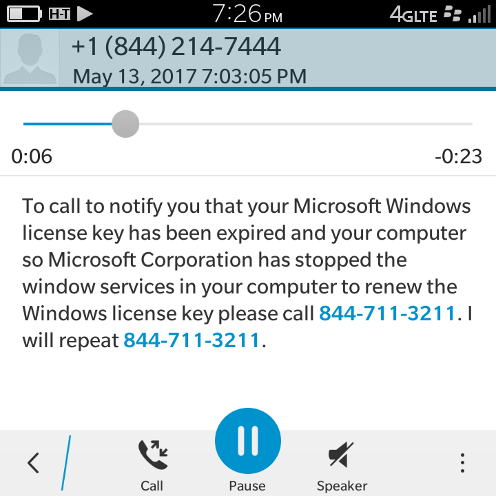 call microsoft license key