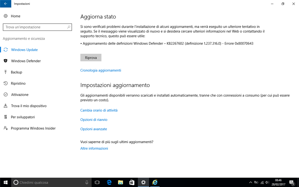 manualmente aggiornamenti windows defender