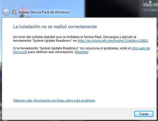 erro na instalacao do sp1 windows 7