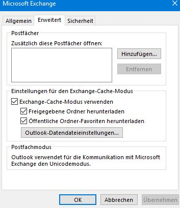 outlook cache modus freigegebene ordner