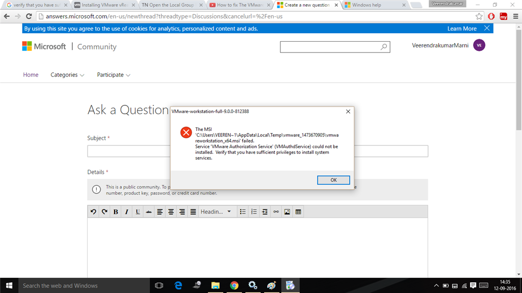 vmware authorization service is not running - Microsoft Community