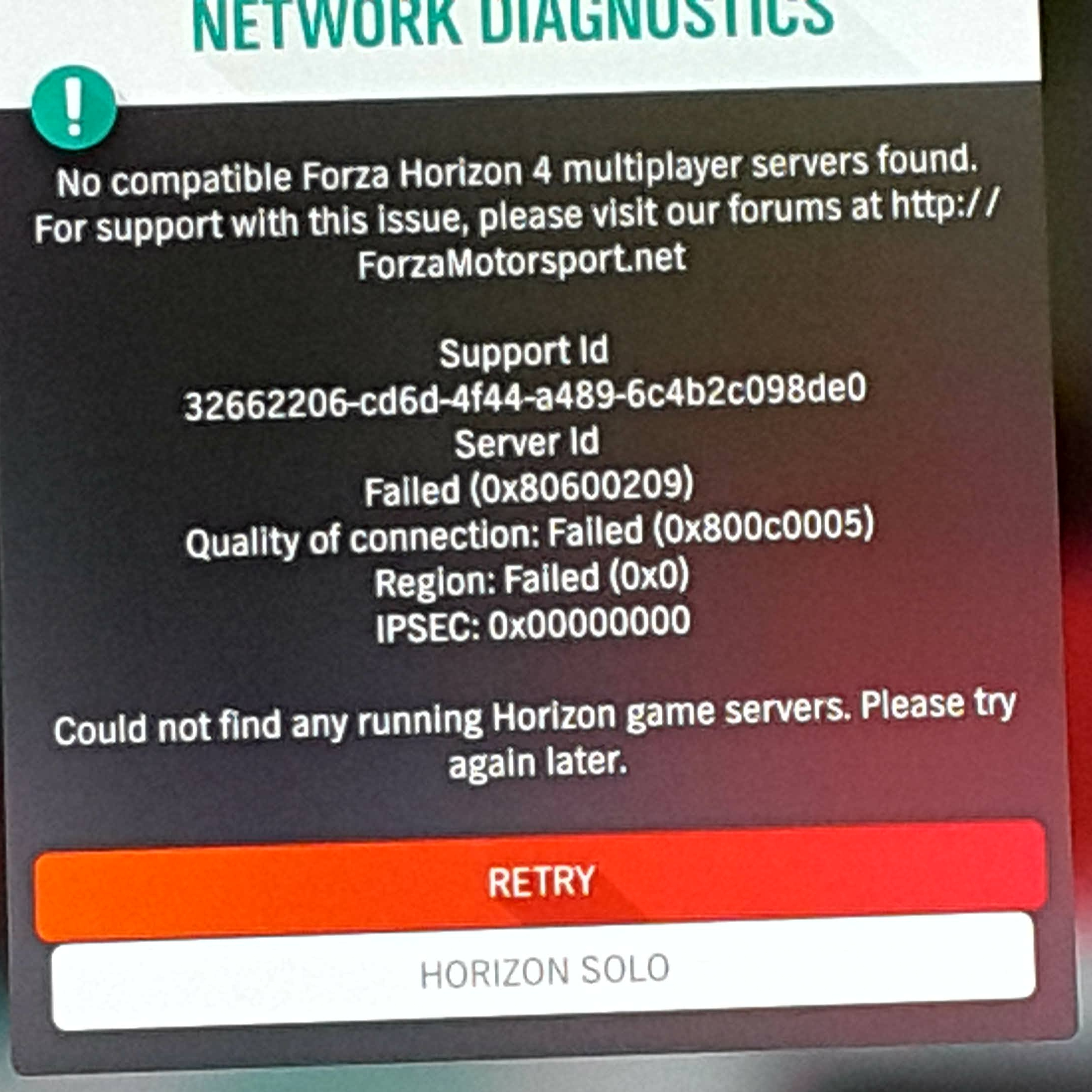 No compatible Forza Horizon 4 multiplayer servers found  - Microsoft
