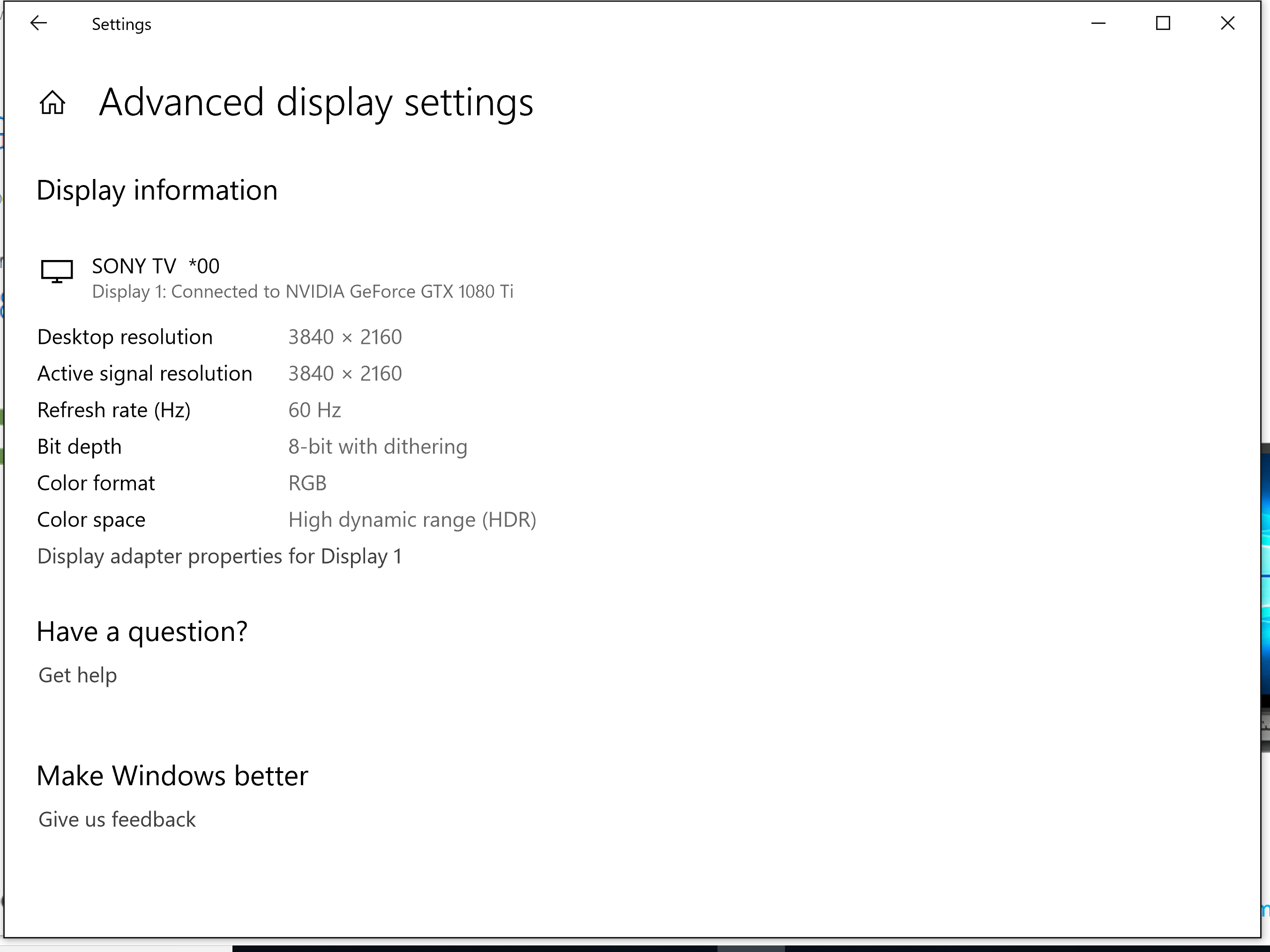 Windows HDR option within Windows 10 settings  Poor display