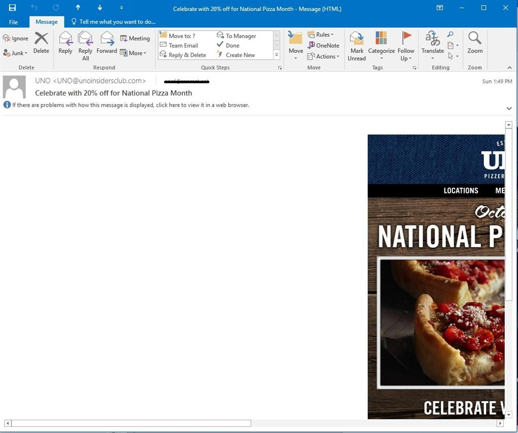 Outlook 2016, why are some e-mails not showing full screen