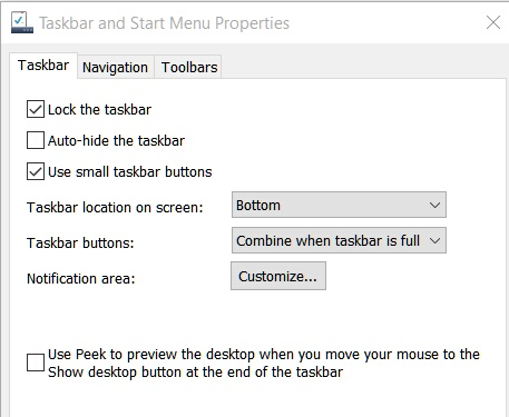 Windows 10 Task Bar properties missing Start Menu tab