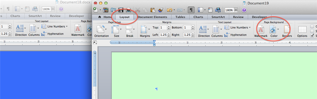 Setting Page Color In MS Word 2011 For Mac