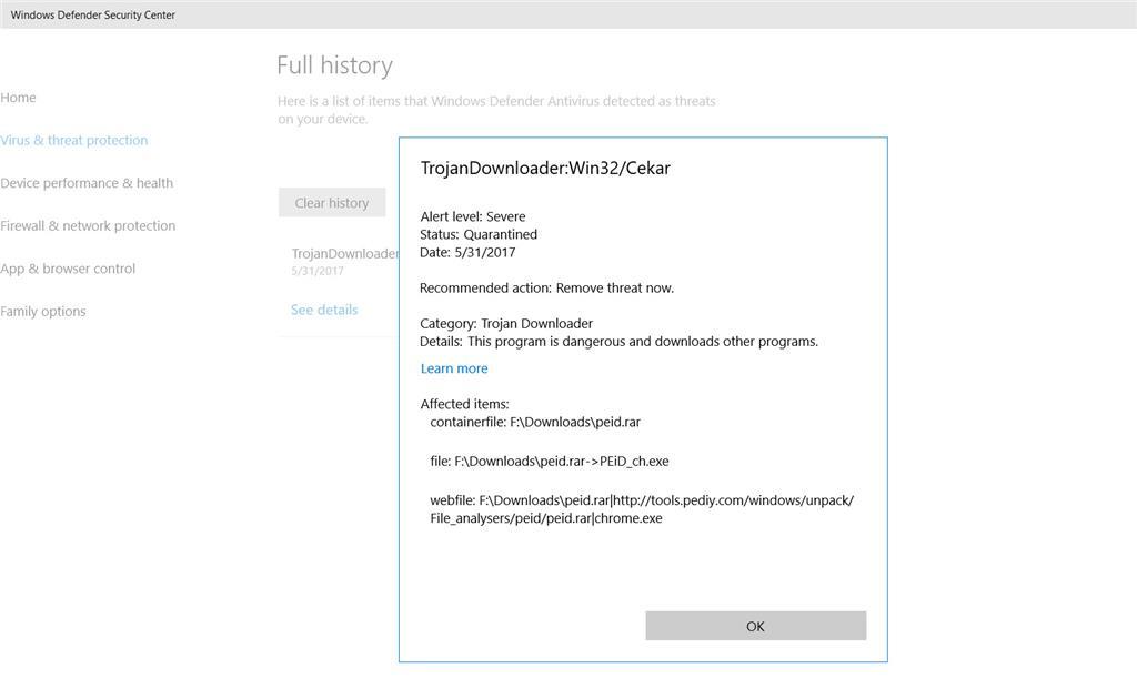 Where to restore quarantined items in Windows 10 creator update? -  Microsoft Community