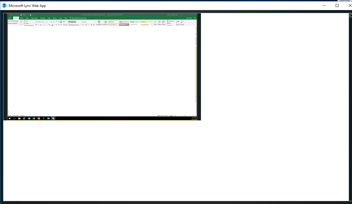 Microsoft Lync Web App displays small screen (1/4 of full