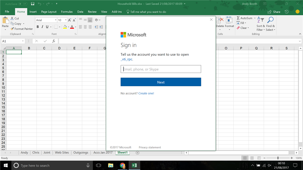 very annoying sign in popup when closing excel microsoft community