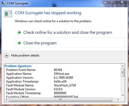 COM Surrogate stopped working problem - Microsoft Community