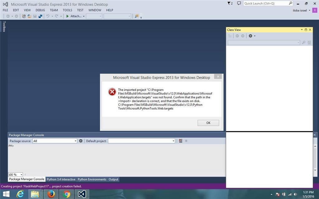 Python Flask Web Project Fail To Create On Visualstudio2013