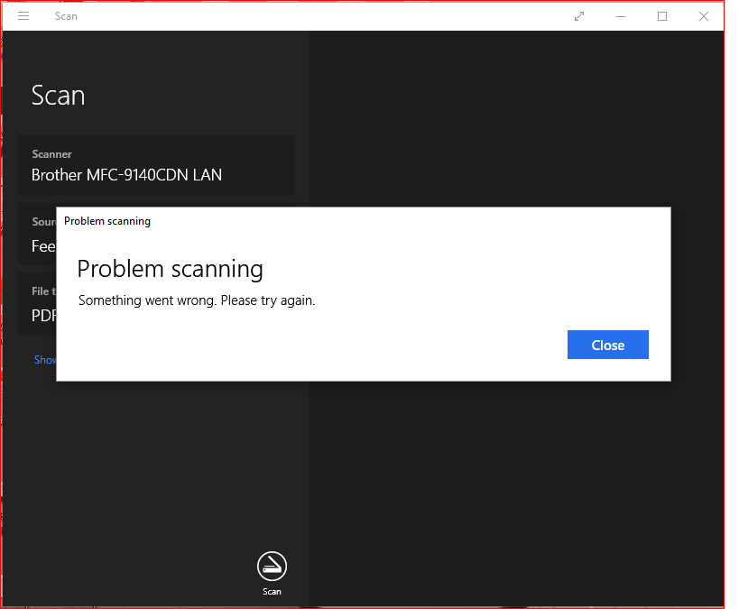 Problem scanning  something went wrong  please try again