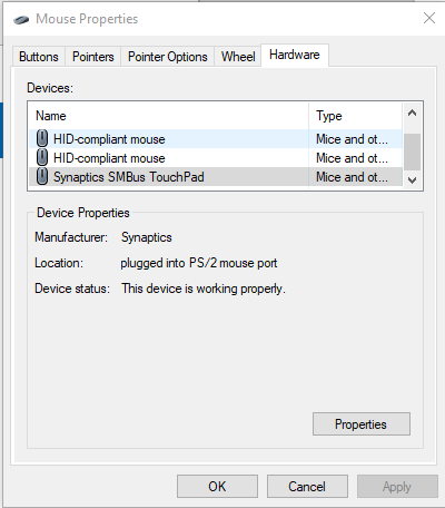 Can't disable Synaptics SMBus Touchpad - Microsoft Community