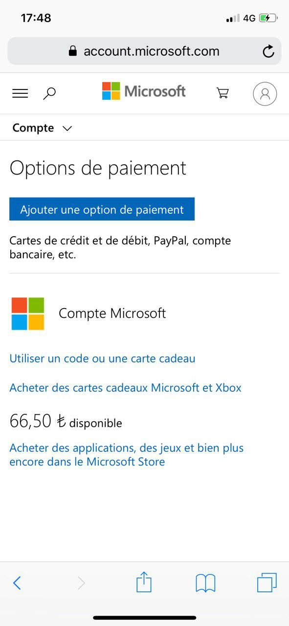 Available Microsoft balance is different when paying! [IMG]