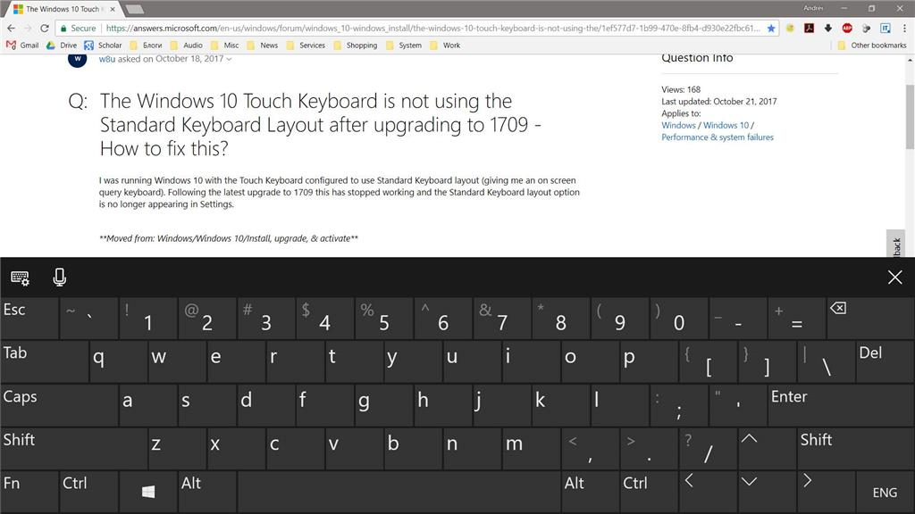 Windows 10 version 1709 very large touch keyboard occupying 50% of