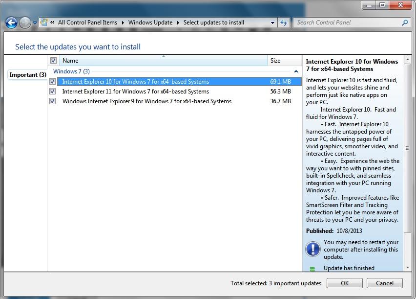Internet Explorer 11 Windows 7 for 64 won't install