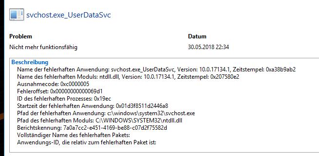 svchost.exe_UserDataSvc nicht mehr funktionstüchtig