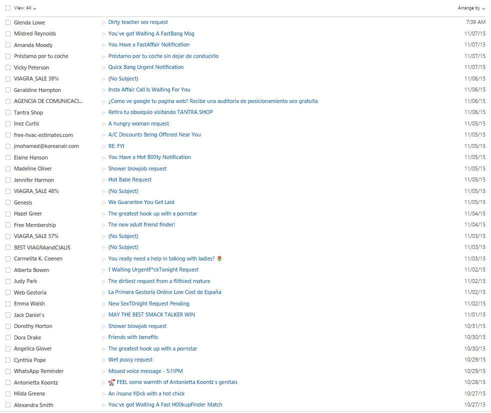 Massive amount of SPAM arriving - Microsoft Community