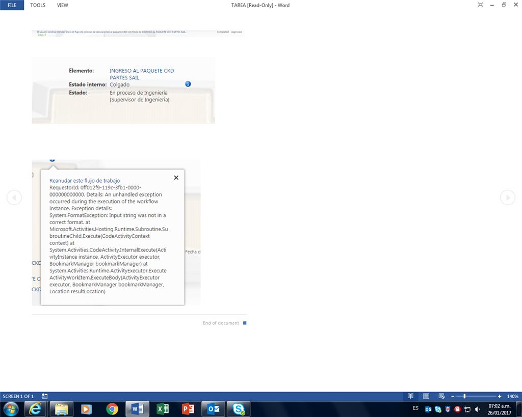 ESTADO INTERNO:COLGADO - Microsoft Community