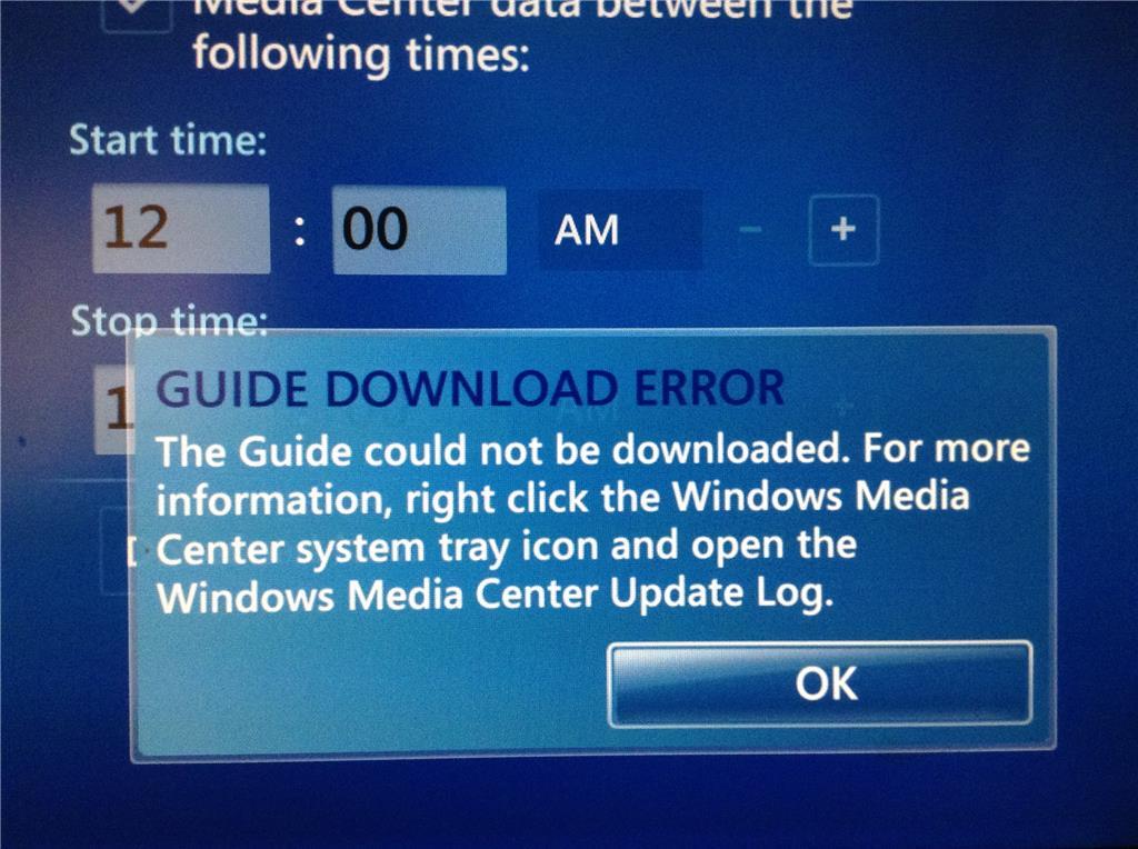 Windows media center epg not updating