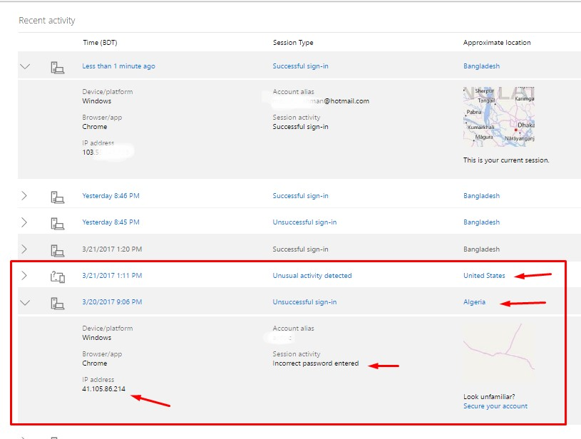 Hotmail sign in activity