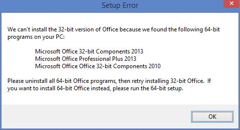 cannot upgrade office 2016 over 2013 32-bits - Microsoft