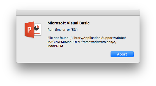 PowerPoint 2016 for Mac: Microsoft Visual Basic: Run-time