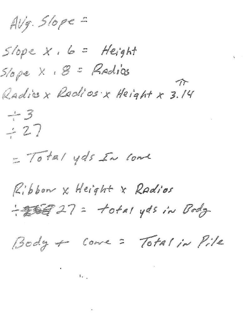Help designing a spredsheet for stockpile volume calculation