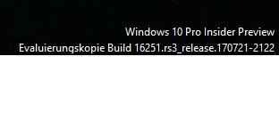 Schriftzug der Windows Version vom Desktop entfernen.