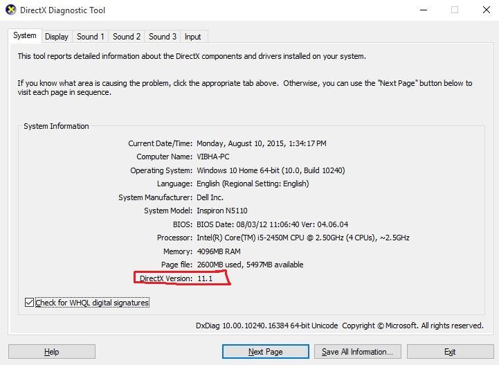 Directx 11.1 in Windows 10 - Microsoft Community