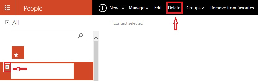 Unable to delete Contact in hotmail(outloook) - Microsoft
