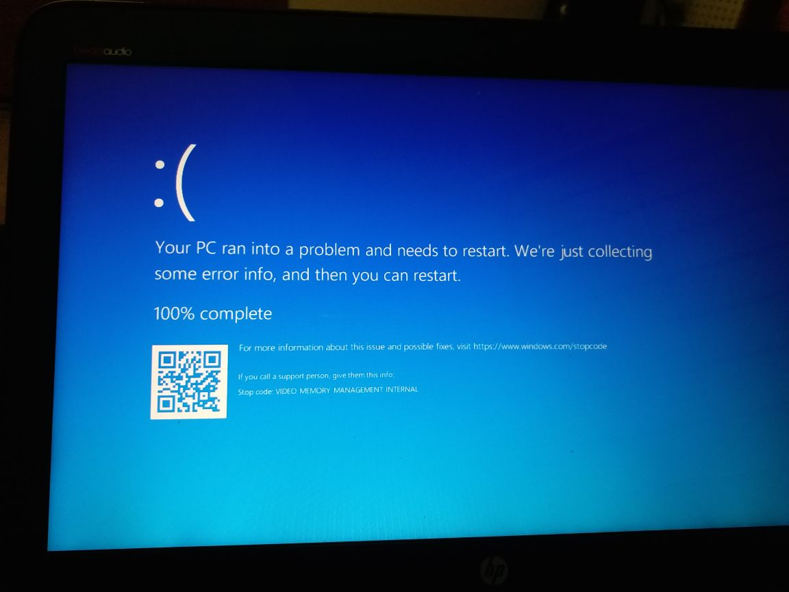 video memory management error windows 10