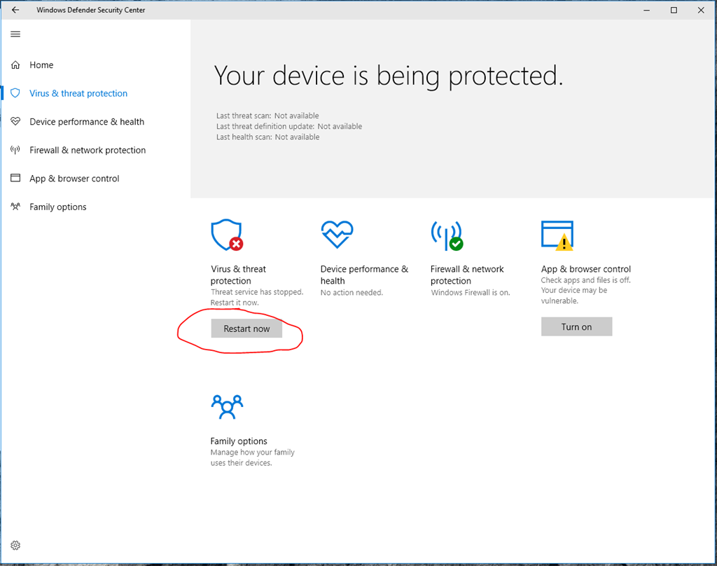 cannot turn on windows defender service