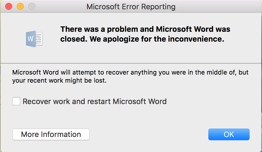 how to fix microsoft word freezing mac