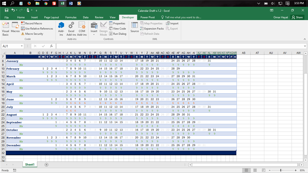 excel 2013 template employee attendance tracker - Need to